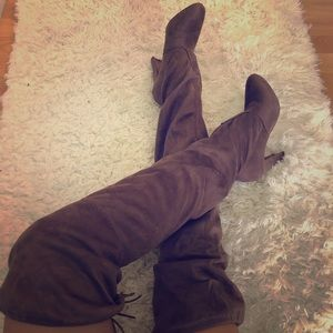 Thigh High Nude Suede Heeled Boots